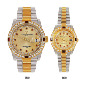 [Valentino Coupeau] รูปสี่เหลี่ยมจัตุรัสสีแดงเพชรสีแดงทองเพชรและเงินเปลือกสแตนเลสพร้อมนาฬิกากันน้ำ (สองรุ่น)